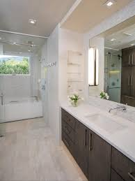 art for bathroom ideas decor large frameless mirrors with white granite countertop and