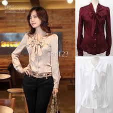 womens silk blouses 2017 fashion big bowknot imitate silk shirts white beige