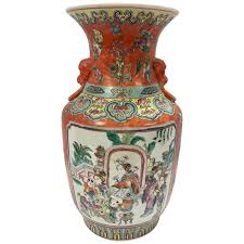 orange foo dogs painted porcelain orange vase urn with foo dogs for