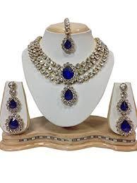 necklace set blue stone images Imitation diva dazzling indian bollywood gold plated blue stone jpg