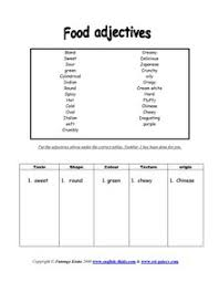 esl food taste international food english vocabulary printable