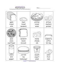 fair food and drinks vocabulary worksheet in pictures of healthy
