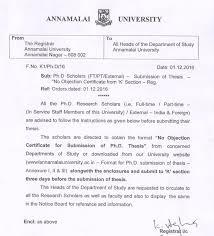 no objection certificate india format annamalai university