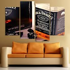 jack daniels home decor canvas painting 4 piece canvas art whiskey bottle candy hd printed