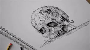 geometric skull shading in speed drawing youtube