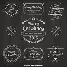christmas design elements with blackboard texture vector free