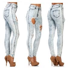 Destroyed High Waisted Jeans 47 Off Vibrant M I U Denim Destroyed High Waisted Jeans Light