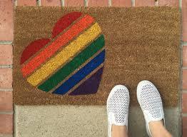 Unique Doormats Pride Heart Welcome Mat Hand Painted Custom Doormat