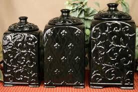 black ceramic kitchen canisters tuscan design black scroll fleur de lis ceramic kitchen