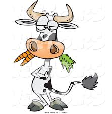 A Cartoon Barn Vector Of A Cartoon Cow Eating Carrots While Standing With His