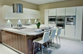 fancy high tech kitchen design ideas u shape white and brown