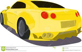 cartoon sports car gold cartoon sport car back view stock vector image 68725682