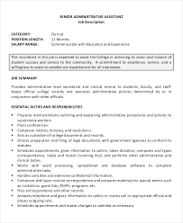 Samples Of Resume For Job Application by 10 Senior Administrative Assistant Resume Templates U2013 Free Sample