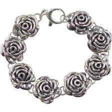sterling silver rose bracelet images Vintage sterling silver flower rose bracelet arnold jewelers jpg