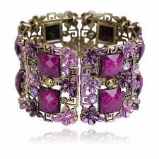 crystal rhinestone cuff bracelet images Vintage bracelet cuff women retro copper floral lucite resin jpg