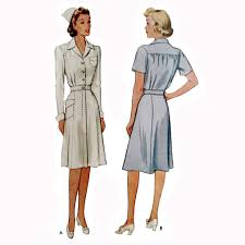 1940s dresses 1940s style wwii nurses dress custom made in your size