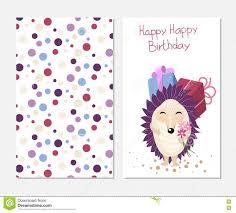 birthday card to print stylish happy birthday card in style with hedgehog