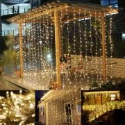 led curtain lights icicle window light string le