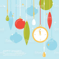 simple christmas decorations with watch flat vector illustration