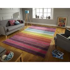 flair rugs illusion candy stripe 100 wool hand tufted rug multi