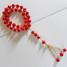 wedding bracelet gift images 2017 new design ceramic red crystal beads bracelet red muslim jpg