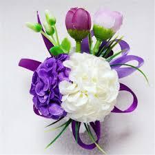 White Rose Wrist Corsage Aliexpress Com Buy Purple With White Best Man Wrist Flowers