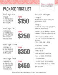 wedding planner pricing photography price list pricing list for photographers price