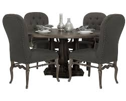 bernhardt belgian oak 5pc round dining room set with button tufted