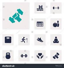 set 12 bodybuilding icons setcollection weights stock vector