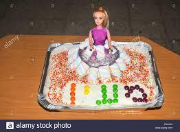barbie doll birthday cake decorated stock photos u0026 barbie doll