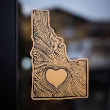 idaho wood state sticker cda idaho clothing company
