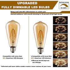 amber vintage edison led light bulbs dimmable antique led filament
