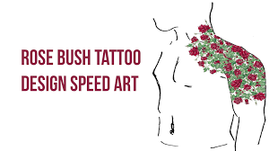 rose bush tattoo design speed art youtube