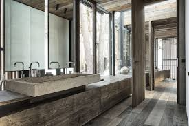 wood bathroom concrete sink modern home in the mountains