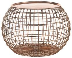 Wire Coffee Table Wire Coffee Table Removable Tray ø 50 X H 32cm Copper By