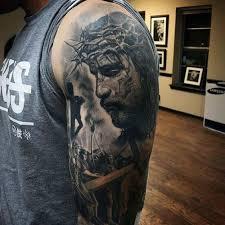 amazing mens 3d realistic jesus portrait with cross half sleeve