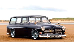 volvo station wagon volvo amazon modern engine in a vintage body garage