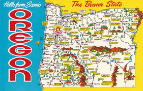 Map The United States by Vintage State Postcards Vintage Hello From Scenic Oregon
