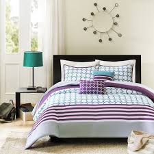 Teal And Purple Comforter Sets Twin Twin Xl 4 Piece Comforter Set Purple White Teal Circles