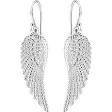 angel wing earrings sterling silver angel wing drop earrings co uk jewellery