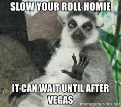 It Can Wait Meme - slow your roll homie it can wait until after vegas not today lemur