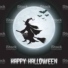 halloween background with flying witch on the full moon stock