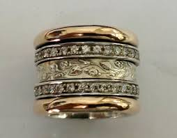 spinner rings cz zirconia ring spinner bands sterling silver and gold