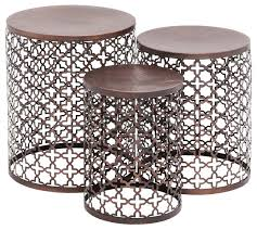 Metal Drum Accent Table Beautiful Metal Outdoor End Tables Patio Side Table Metal
