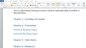 Table Of 4 by How To Make Automated Table Of Contents In Microsoft Word Tech
