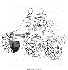 mud truck clip art vector of a cartoon excited man 4wheeling his truck through mud