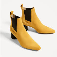 yellow boots s zara zara mustard color leather stretch ankle boots from s