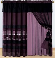Black And Silver Curtains 4 Eggplant Purple Black Silver Stripe Chenille