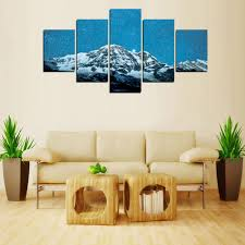 5 panels snow mountain under stars sky canvas print painting