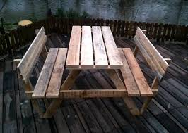 Building Wooden Picnic Tables by Build Pallet Picnic Table With Backrest 99 Pallets